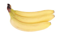 Molto banana gialla isolata Immagine Stock