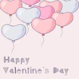 Molto cuore disegnato a mano balloons il volo Fotografia Stock