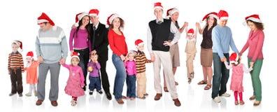 Molto famiglia di natale con i bambini Fotografia Stock Libera da Diritti