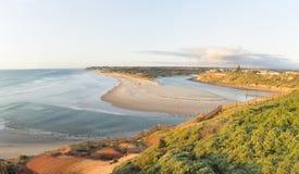 Molto largamente vista ad angolo del tramonto d'avvicinamento della spiaggia di Southport Fotografia Stock