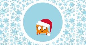 Molto Natale pazzo divertente sveglio del piccolo ` di Upsies balla e Buon Natale rosso! segno su fondo grigio luminoso royalty illustrazione gratis
