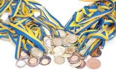 Molto oro, argento e medaglie di bronzo Immagine Stock