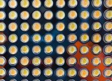 Molto piccola lampada di giallo LED in una fila Fotografia Stock