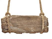 Molto scheda del segno dell'annata con la vecchia corda Fotografie Stock Libere da Diritti