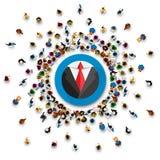 Molto supporto della gente in un rivestimento del cerchio illustrazione vettoriale