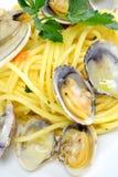 Moluscos da massa e do marisco dos espaguetes fotografia de stock