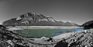Molveno lake BW. Trentino, Molveno lake empty. Partial black and white version Stock Photos