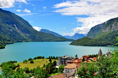 Molveno lake in Dolomites Stock Photo