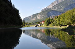 Molveno with lake, Italy. Images shows Molveno Lake with town, Alto Adige, Italy Stock Photography