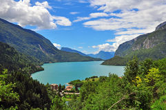 Molveno lake, Italy Royalty Free Stock Photos