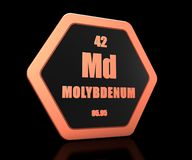 Molybdenum chemical element periodic table symbol 3d render stock illustration
