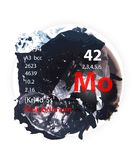 Molybdenum icon - Watercolor or brush effect - Badge style stock image