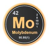 Molybdenum Mo chemical element. 3D rendering. Isolated on white background stock illustration