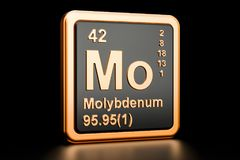 Molybdenum Mo chemical element. 3D rendering. Isolated on black background stock illustration