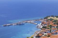 Molyvos或Mithymna, Lesbos,希腊。 免版税图库摄影