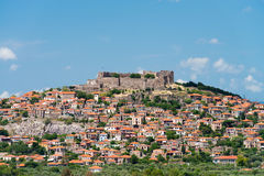 Molyvos. The Greek town of Molyvos built on a hillside royalty free stock photos