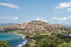 Molyvos. The Greek town of Molyvos built on a hillside stock photo