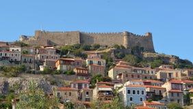 Molyvos castle and village Lesvos. Molyvos castle and village northern Lesvos Greece stock photos