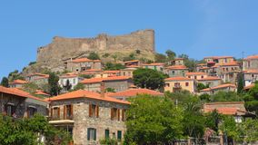 Molyvos castle and village. Northern Lesvos Greece royalty free stock photo