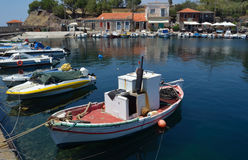 Molyvos Harbor. With Fishing Boats royalty free stock images