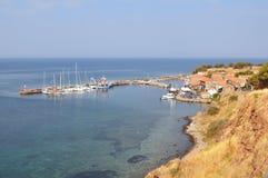 Molyvos historic town,island Lesbos,Greece. Port of Molyvos historic town,island Lesbos,Greece stock photos