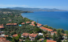 Molyvos Hotels and Seafront. Lesvos Greece stock photo