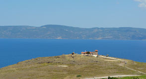 Molyvos Military outlook post overlooking the short distance between Lesvos and the Turkish Coast. MOLYVOS, LESVOS, GREECE - JUNE 12, 2014: Molyvos Military stock photo