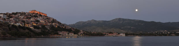 Molyvos Moonlight Panorama. Moonlight over Molyvos Lesvos Greece royalty free stock images