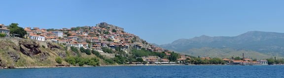Molyvos Panorama. Panorama image of Molyvos Lesvos Greece royalty free stock photography