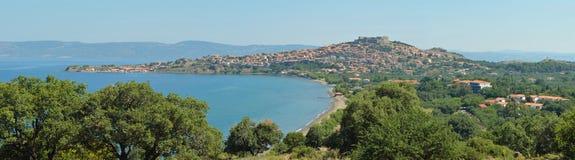 Molyvos Panorama. Panorama image of Molyvos Lesvos Greece stock image