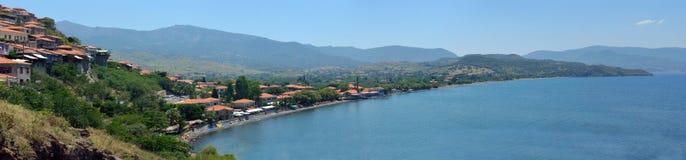 Molyvos Panorama. Panorama image of Molyvos Lesvos Greece stock photography