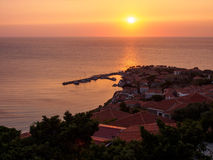 Molyvos by sunset. Sunset in Molyvos on Lesbos island, Greece stock images