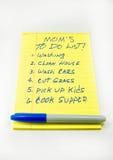 Mom's per fare lista Immagini Stock Libere da Diritti