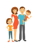 Mom και μπαμπάς με τα παιδιά ευτυχείς πρόγονοι απεικόνιση αποθεμάτων