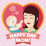 Mom και μωρό μέσα σε μια καρδιά με τις κορδέλλες ημέρας της μητέρας, διανυσματική απεικόνιση Στοκ εικόνα με δικαίωμα ελεύθερης χρήσης