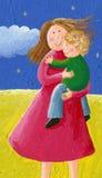 Mom και παιδί στο πάρκο απεικόνιση αποθεμάτων