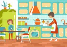 Mom και dauhter μαγείρεμα μαζί στην κουζίνα Εγχώρια βοήθεια, upbr ελεύθερη απεικόνιση δικαιώματος