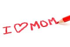 mom κόκκινο μολυβιών Στοκ Εικόνες
