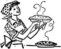 Mom με τις φρέσκες ψημένες πίτες διανυσματική απεικόνιση
