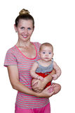 Mom με το μωρό στα όπλα της Στοκ Φωτογραφίες