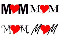 Mom. Collage with the word 'Mom' written in different fonts with a red heart as the 'o' in each word Stock Photo