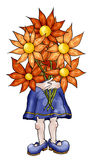 Mom. Illustration of a mother holding a bouquet of flowers royalty free illustration