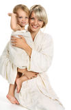Mom ang child together bathing Stock Photo