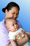 Mom and baby 1. Asian mom and baby royalty free stock photography