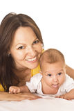 Mom and baby. Happy mom holds the baby royalty free stock photo