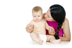 Mom and baby. Naked mom and baby isolated on white background Royalty Free Stock Images