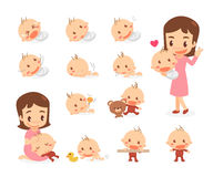 Mom and baby. Baby development stages. Royalty Free Stock Image