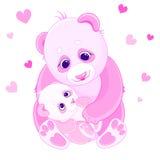 Mom and baby bears. Mom and baby pink panda bear Royalty Free Stock Photo