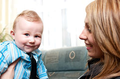 Mom and baby boy. A mom and her cute, baby boy Royalty Free Stock Photos