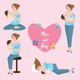 Mom baby breast feeding infant care position love shape Stock Photos